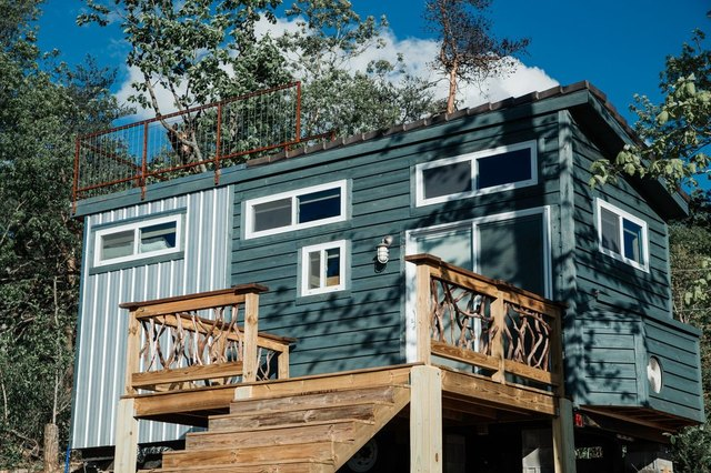 Shangri-Little Tiny House has a rooftop deck for stargazing.