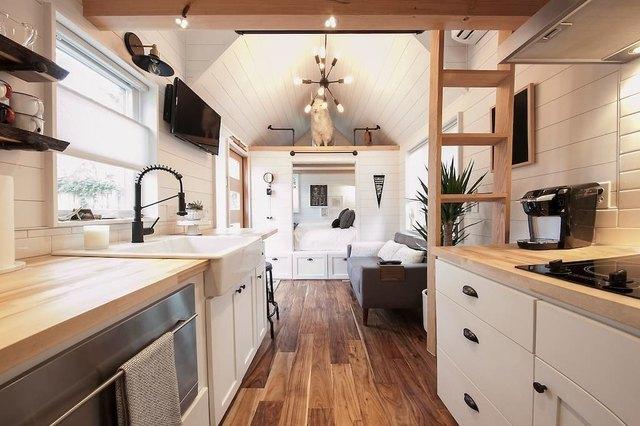 Interior shot of tiny cabin.