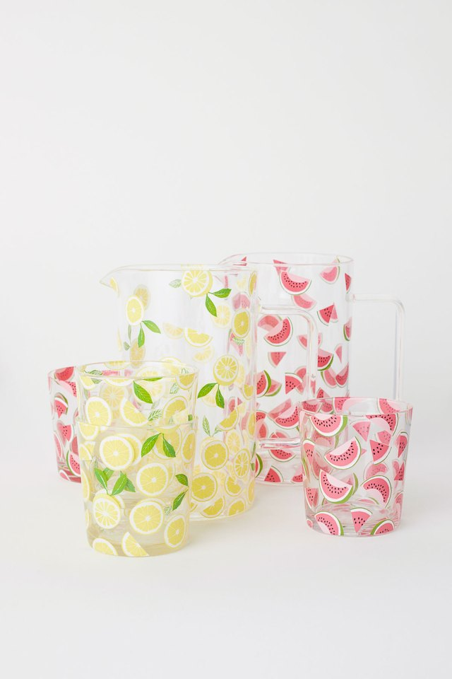 Fruit Patterned Pitcher and Cups