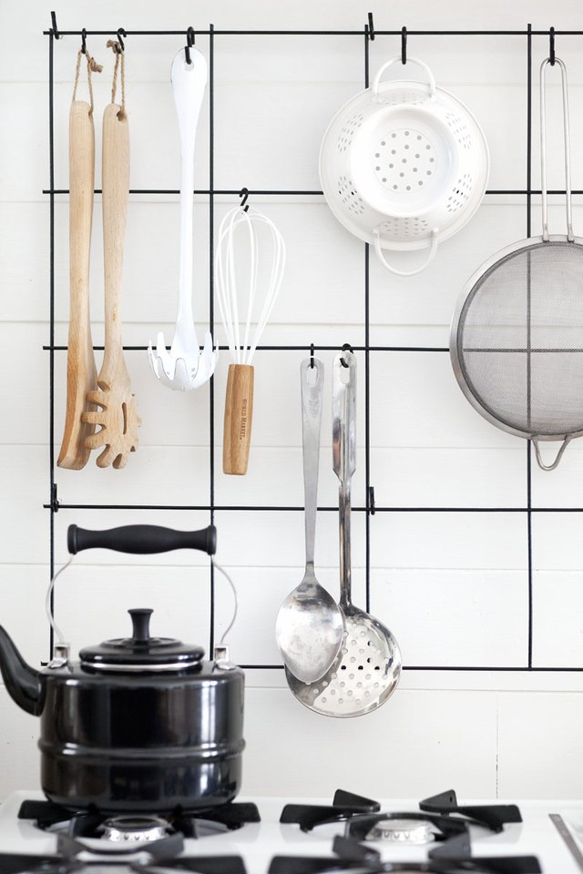 hanging utensils in kitchen