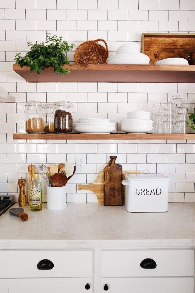 open shelving in kitchen & Kitchen Storage Options Under $50 | Hunker