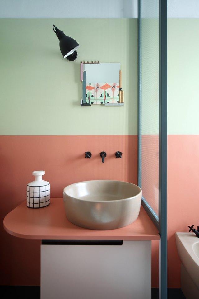 colorblocked bathroom