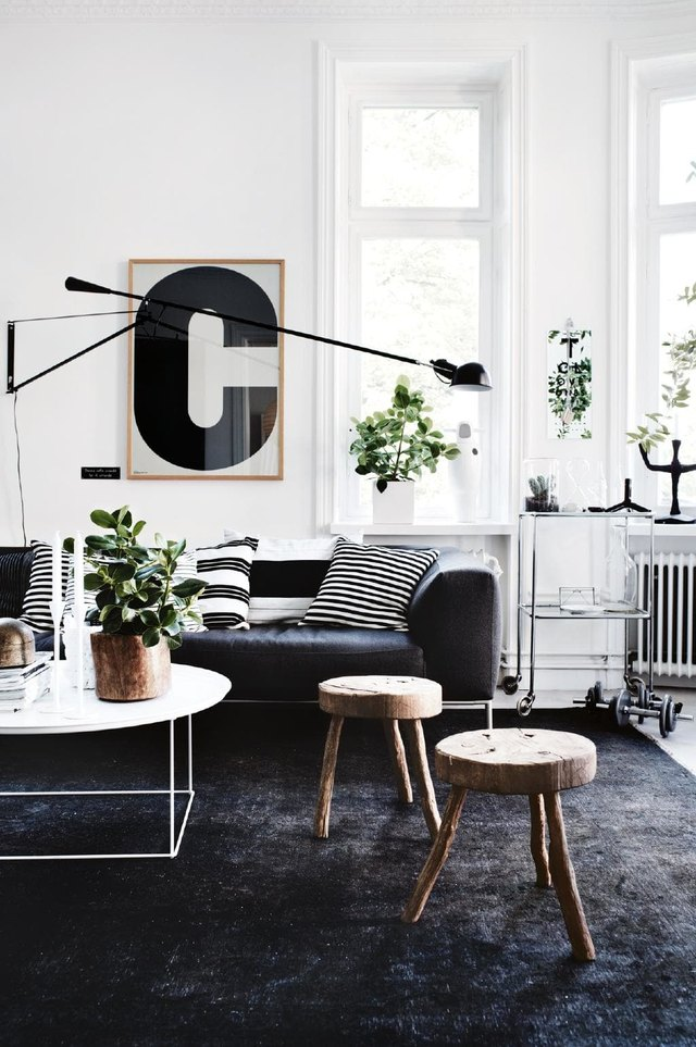 layered living room with black theme