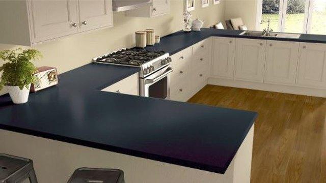 Navy-blue laminate countertop.