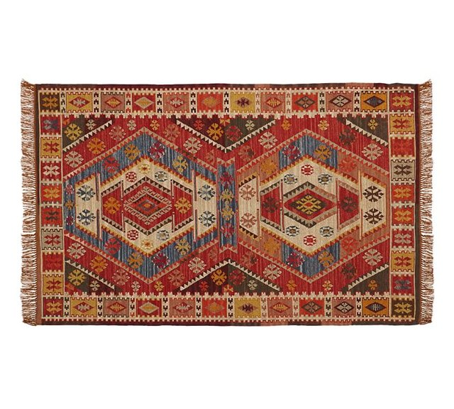 Red-dominant kilim rug with beige and blue accents