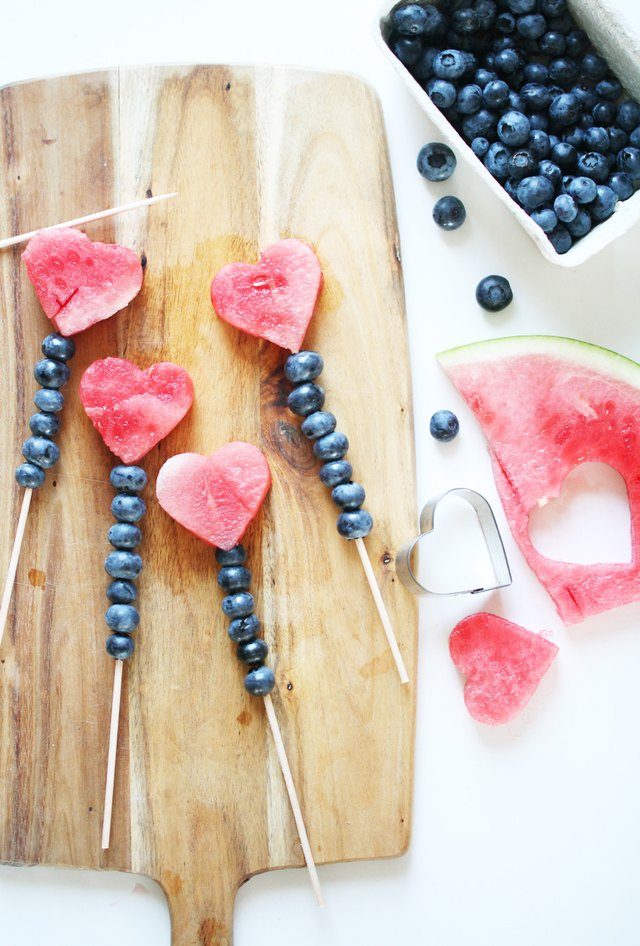 watermelon and blueberry kabobs