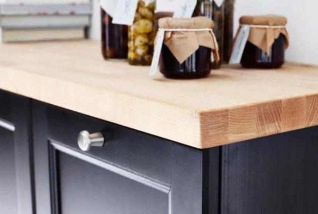 wood countertop.