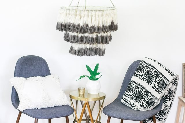 DIY dip-dyed tassel chandelier set with modern touches