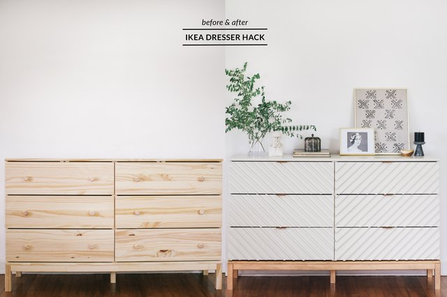 Before and after IKEA dresser hack