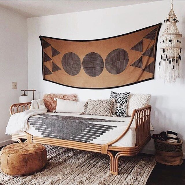 daybed with geometric tapestry boho desert chic