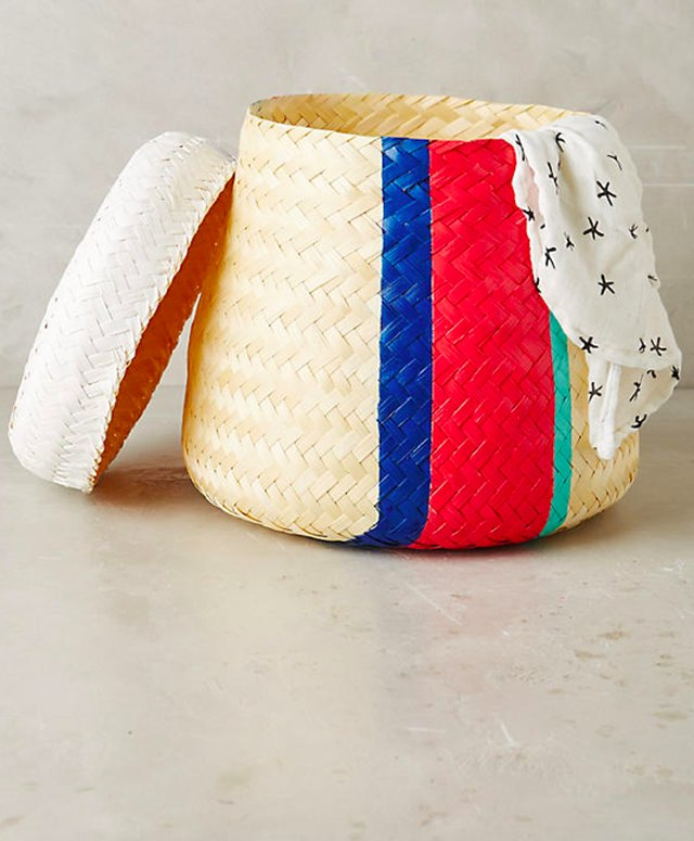 Hand-woven baskets make for stylish storage, and can often fit in an over-head compartment.
