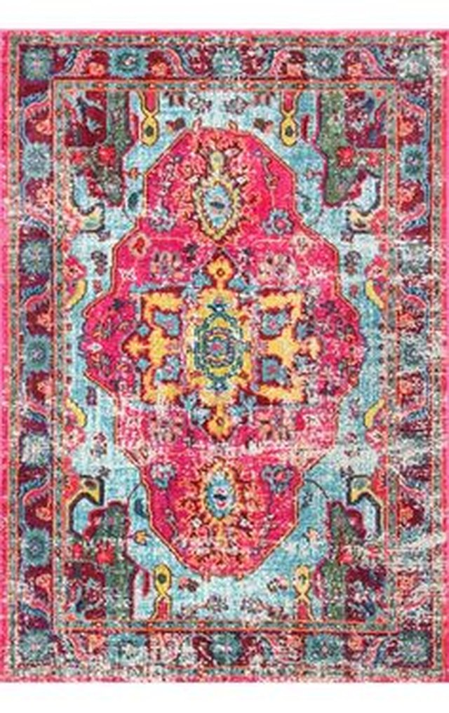 Small hot-pink-dominant area rug with turquoise and yellow accents