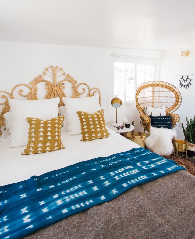 bohemian bedroom woven furniture