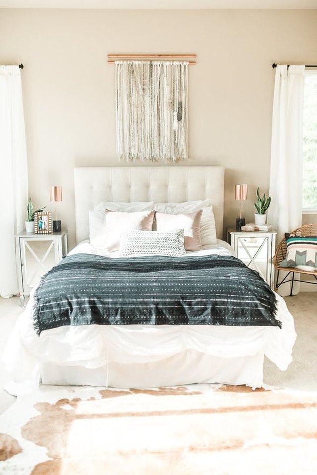 bohemian bedroom in neutral colors