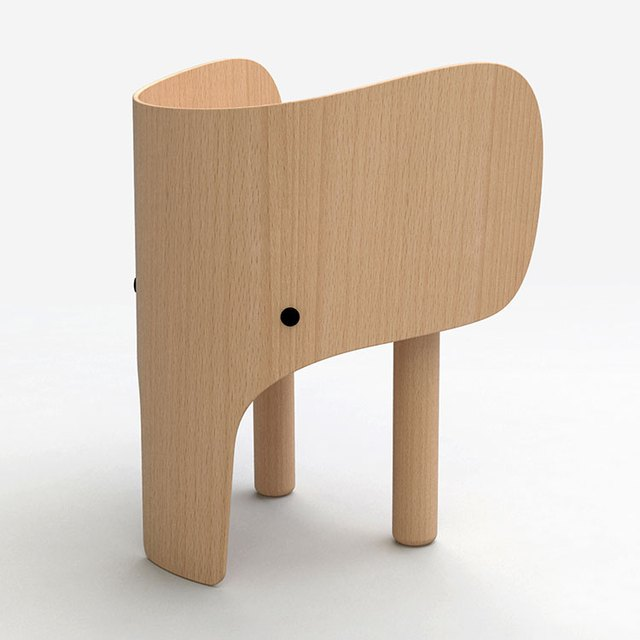 Small, all-wood chair for child shaped like an elephant