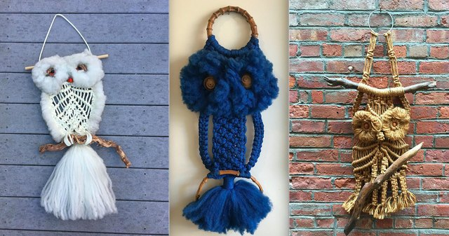A small sampling of the vintage macramé owls available on Etsy.
