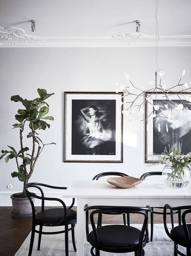 Scandinavian dining room with greenery