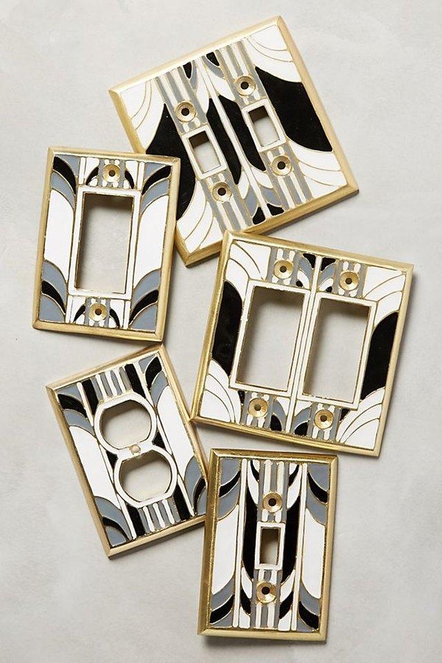 art deco style light switch plates
