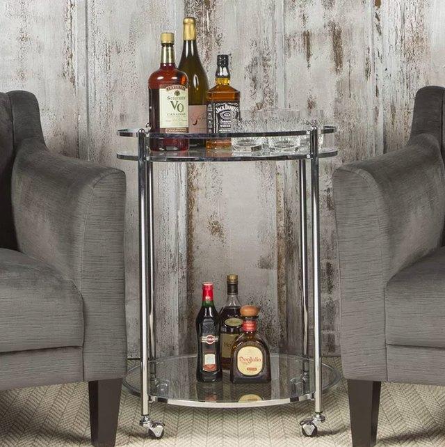 art deco style chrome bar cart