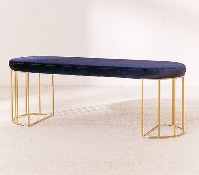 art deco bench with blue velvet top