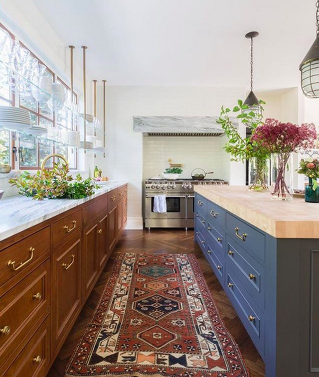 Brown cabinets with marble