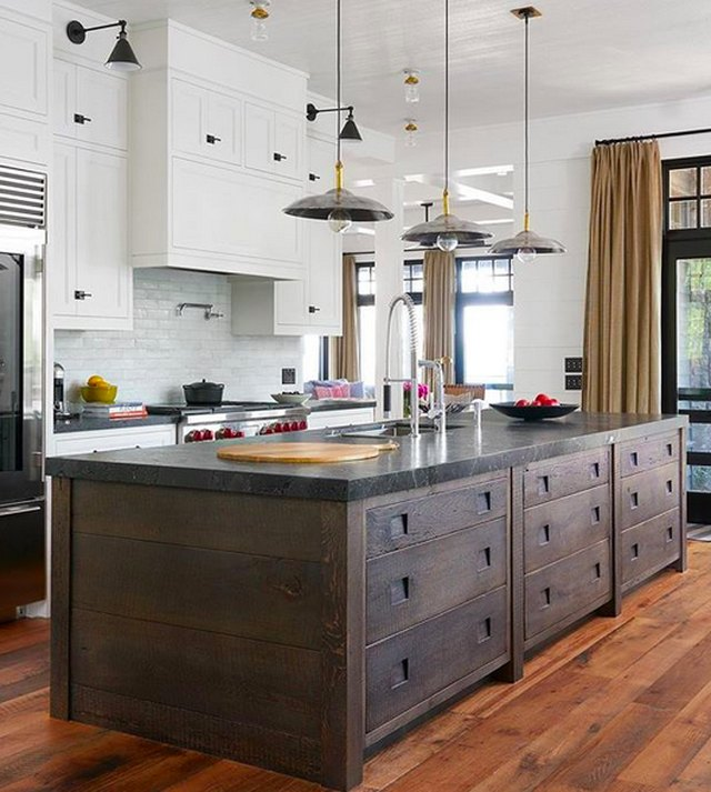Reclaimed wood cabinets.