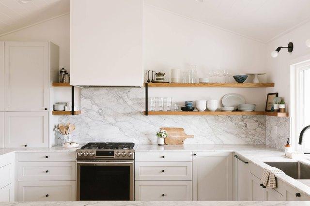 Greige kitchen cabinets