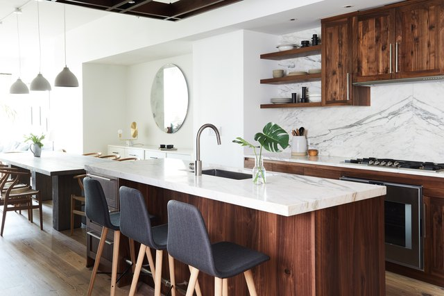 wood and marble kitchen