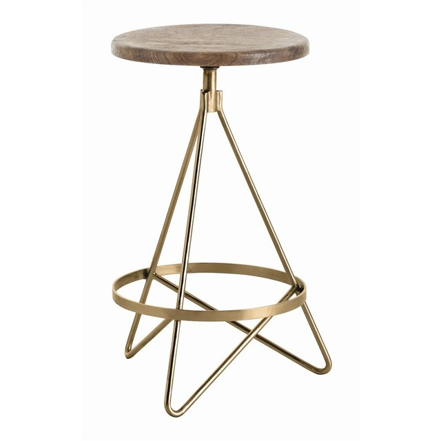 Minimal industrial stool with brass metal base and wooden seat