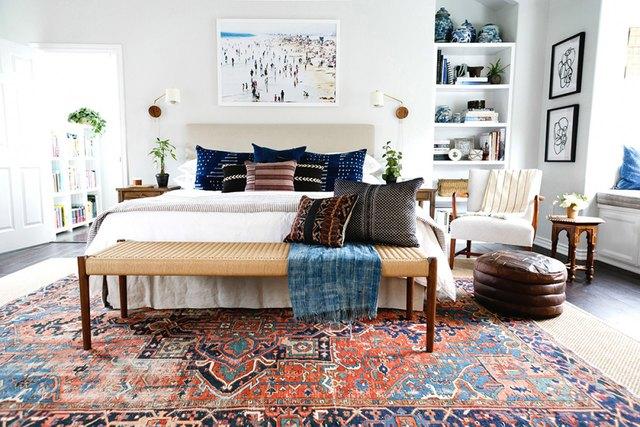 pattern-filled bedroom
