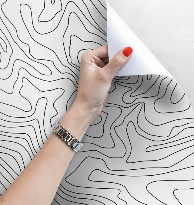 White wallpaper featuring thin black curved abstract lines