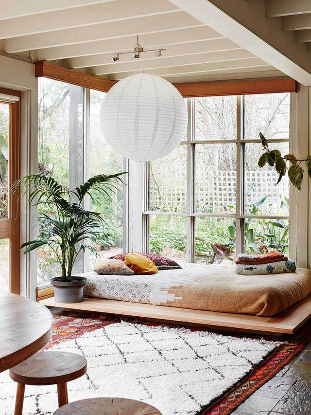 platform bed in bedroom