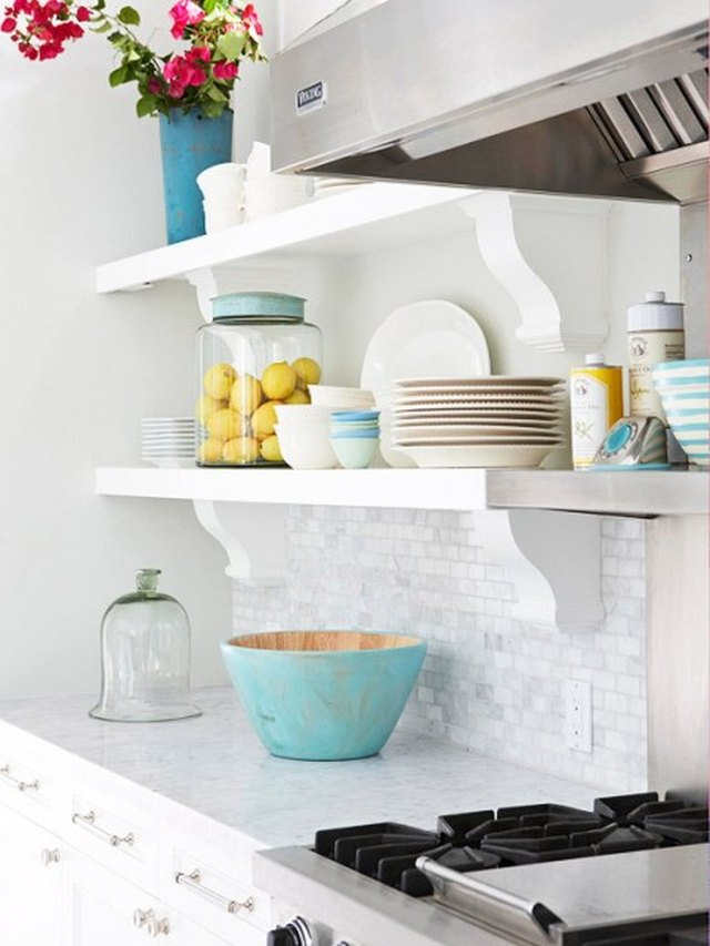 Open kitchen shelving by Inspired Room.