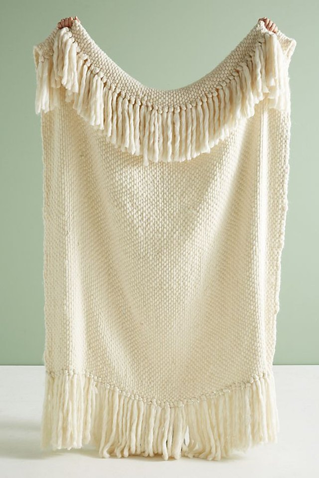 wool throw blanket with fringe detail