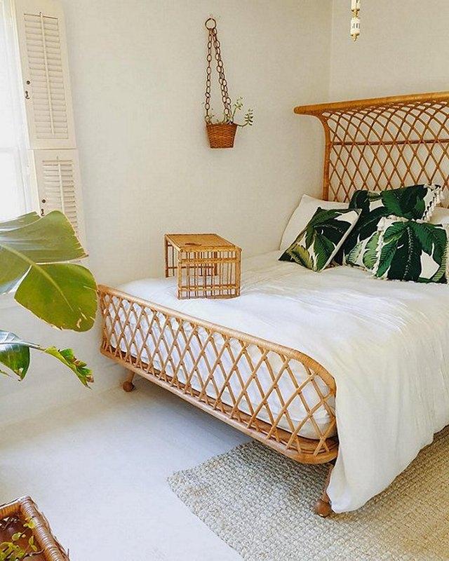 anthropologie rattan bed frame tropical bedroom