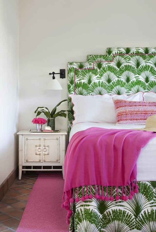 pink and green tropical themed bedroom