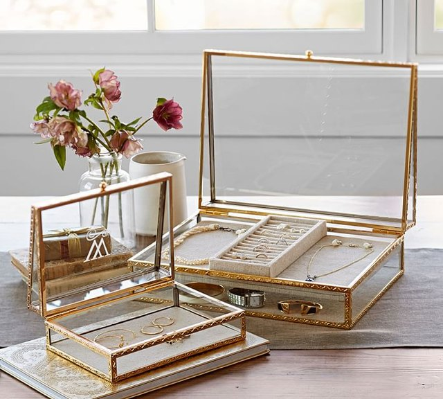Pottery Barn Antique Gold Jewelry Box