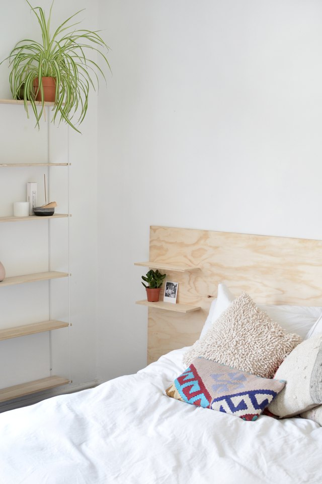 easy to make modern plywood headboard with built in shelves hunker