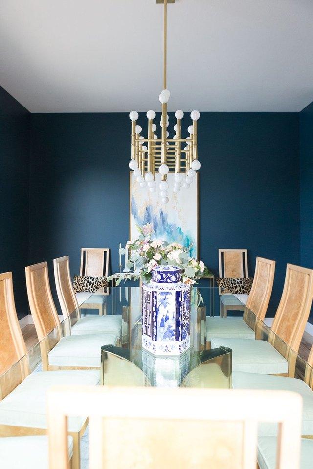 dark blue green dining room
