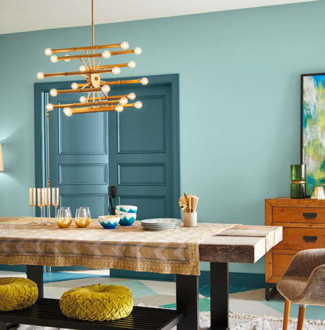 Behr blue paint dining room inspiration