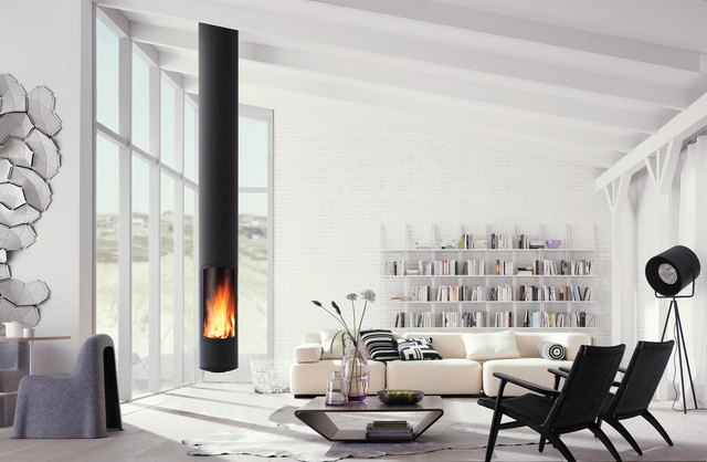 cylindrical hanging fireplace in modern living room