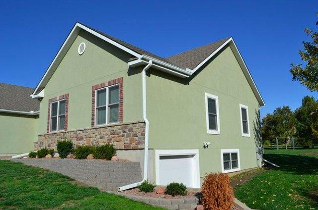 House with stucco siding.