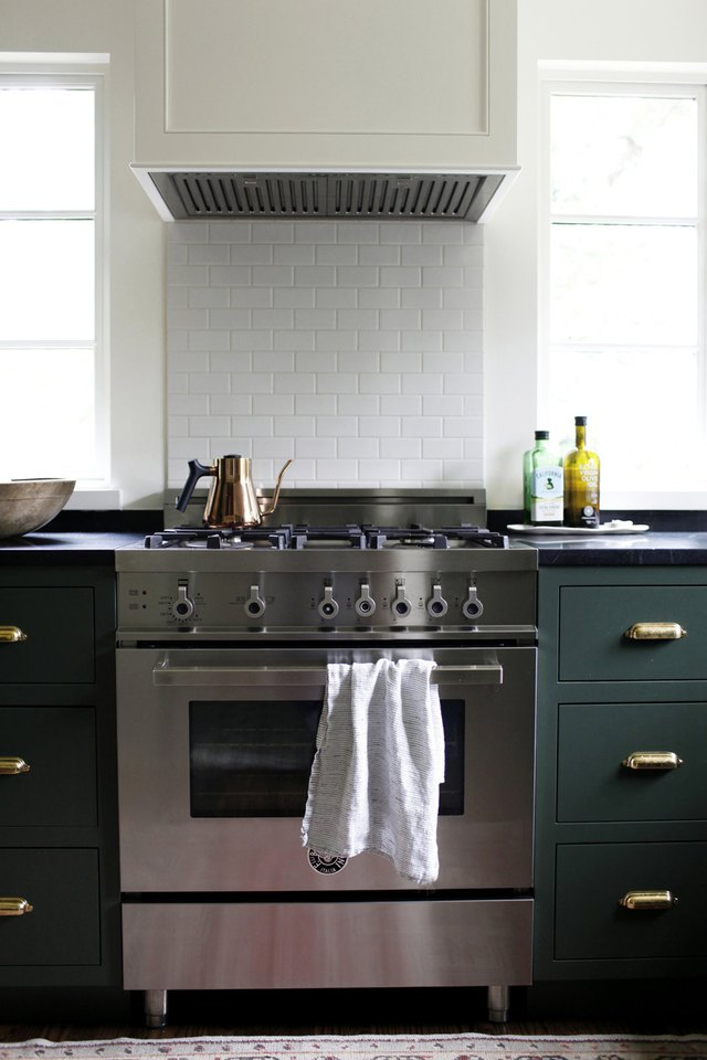stainless steel oven range with hood