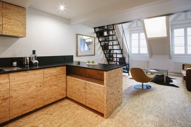 Kitchen with osb cabinets