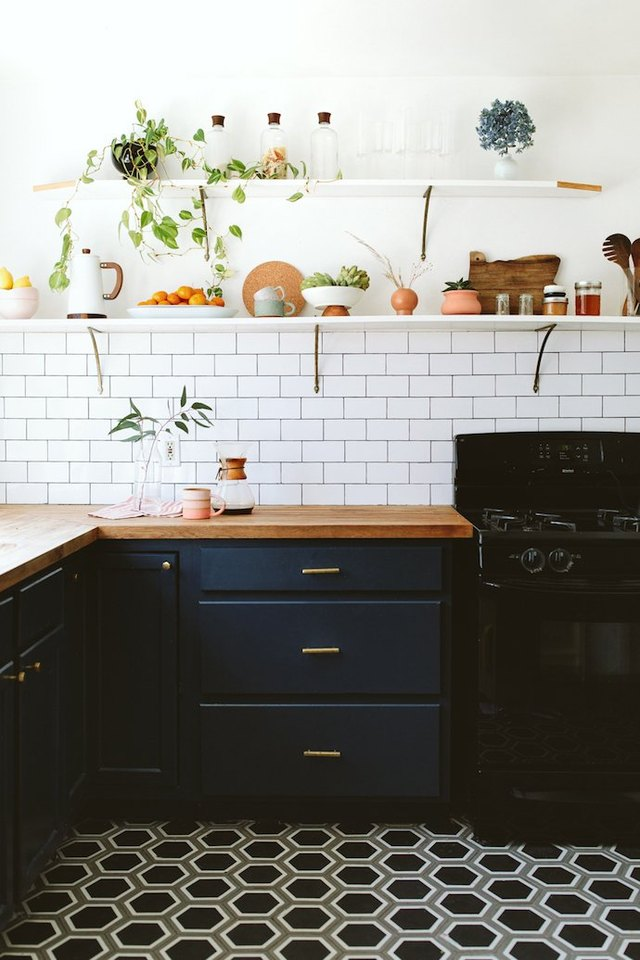 midcentury kitchen with patterned floor tile