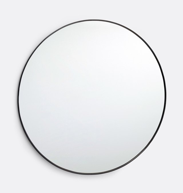 Oversized round mirror with thin oil-rubbed bronze frame