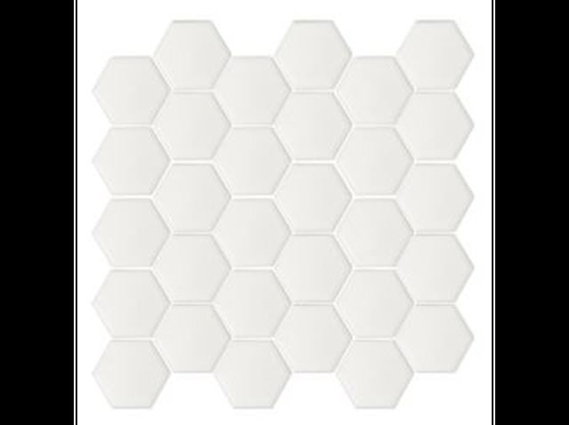 White matte hexagonal mosaic tile
