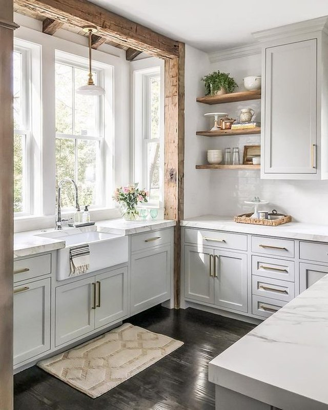 farmhouse kitchen with farmhouse sink and gray cabinets