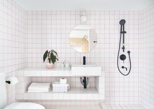 minimalist pink and white tile Bathroom