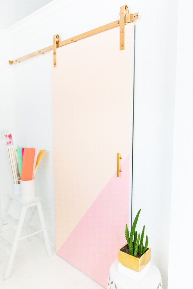 A door with peach and pink